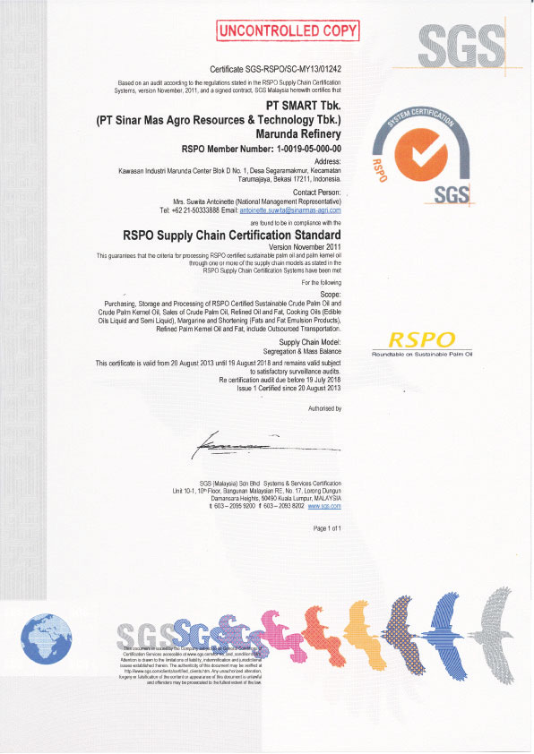 RSPO Supply Chain Certification Standard